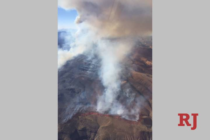 The Bishop Fire seen from the Ella Mountain Lookout in the Clover Mountains south of Caliente o ...