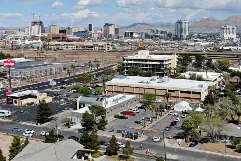 Cars line up on Shadow Lane at UNLV School of Medicine to get drive through testing for the cor ...