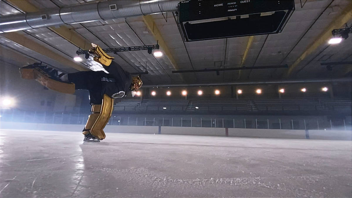 Golden Knights goaltender Marc-Andre Fleury skates while filming an Apple commercial before the ...
