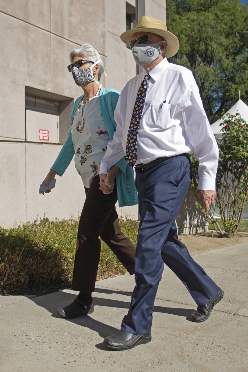 State Senator Joe Hardy and his wife, Jill, arrive at the Legislature on Friday, July 31, 2020 ...