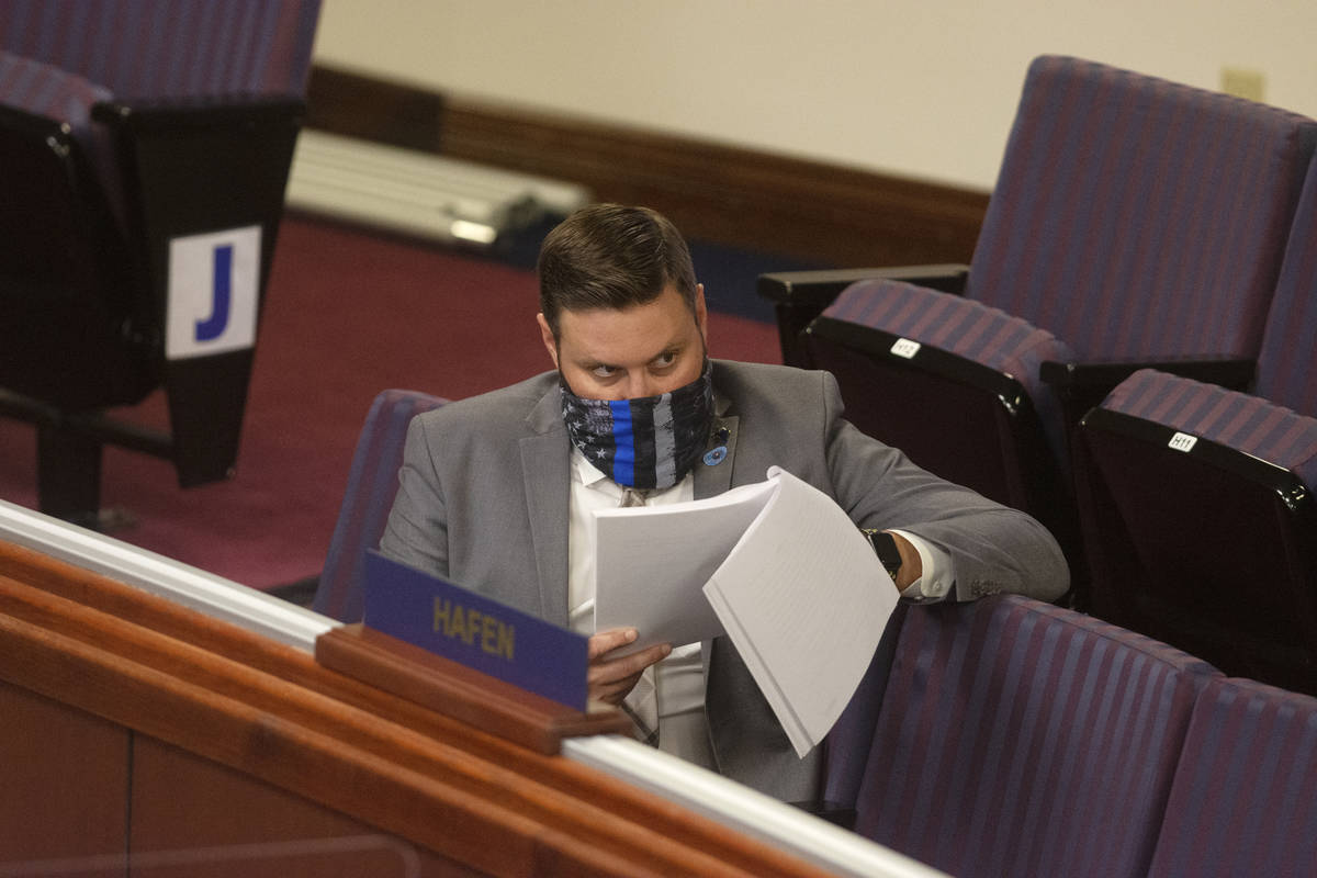 Assemblyman Gregory Hafen II reviews Assembly Bill 4 on Friday, July 31, 2020 during the first ...