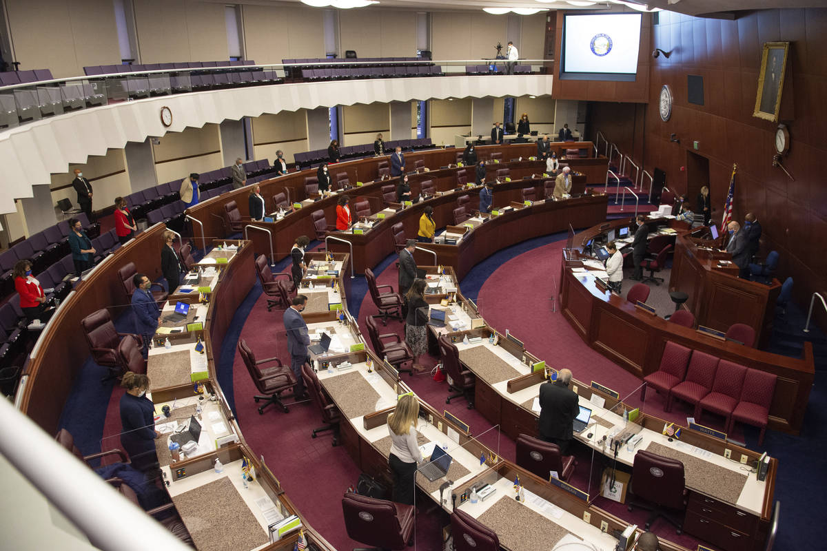 The Assembly meets on the first day of the 31st Special Session of the Nevada Legislature in Ca ...