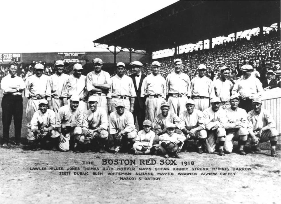 This is the 1918 team photo of the Boston Red Sox. The team won the 1918 World Series over the ...