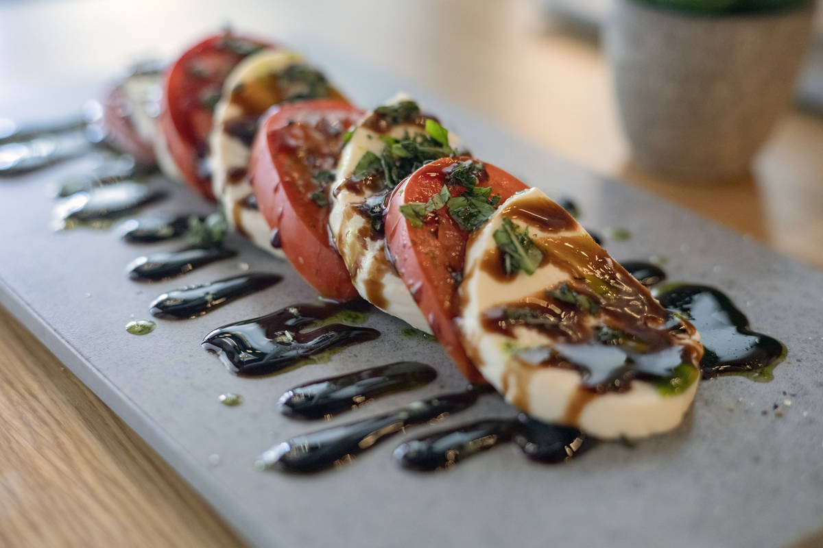 A caprese salad from The Local, a wine bar at the District in Henderson. (Elizabeth Brumley/Las ...