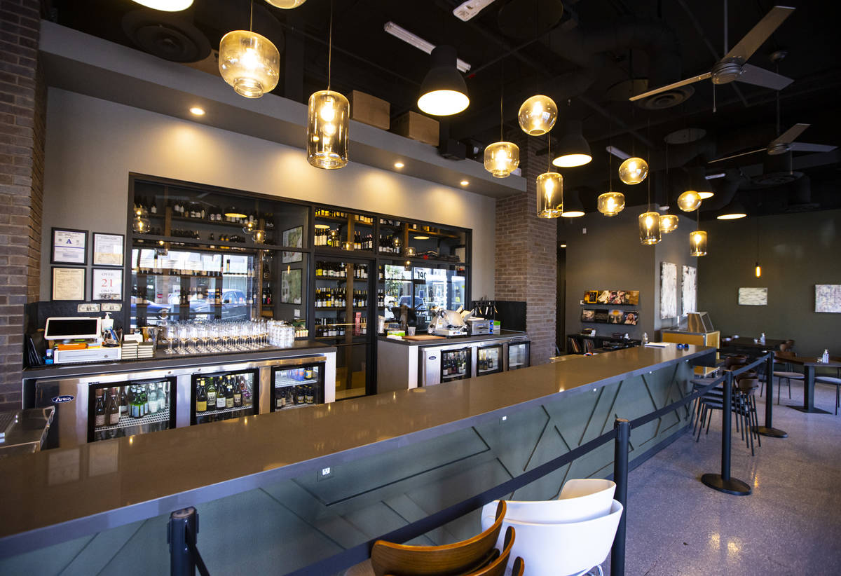 The bar area at Garagiste Wine Room & Merchant in the Arts District. (Chase Stevens/Las Vegas R ...