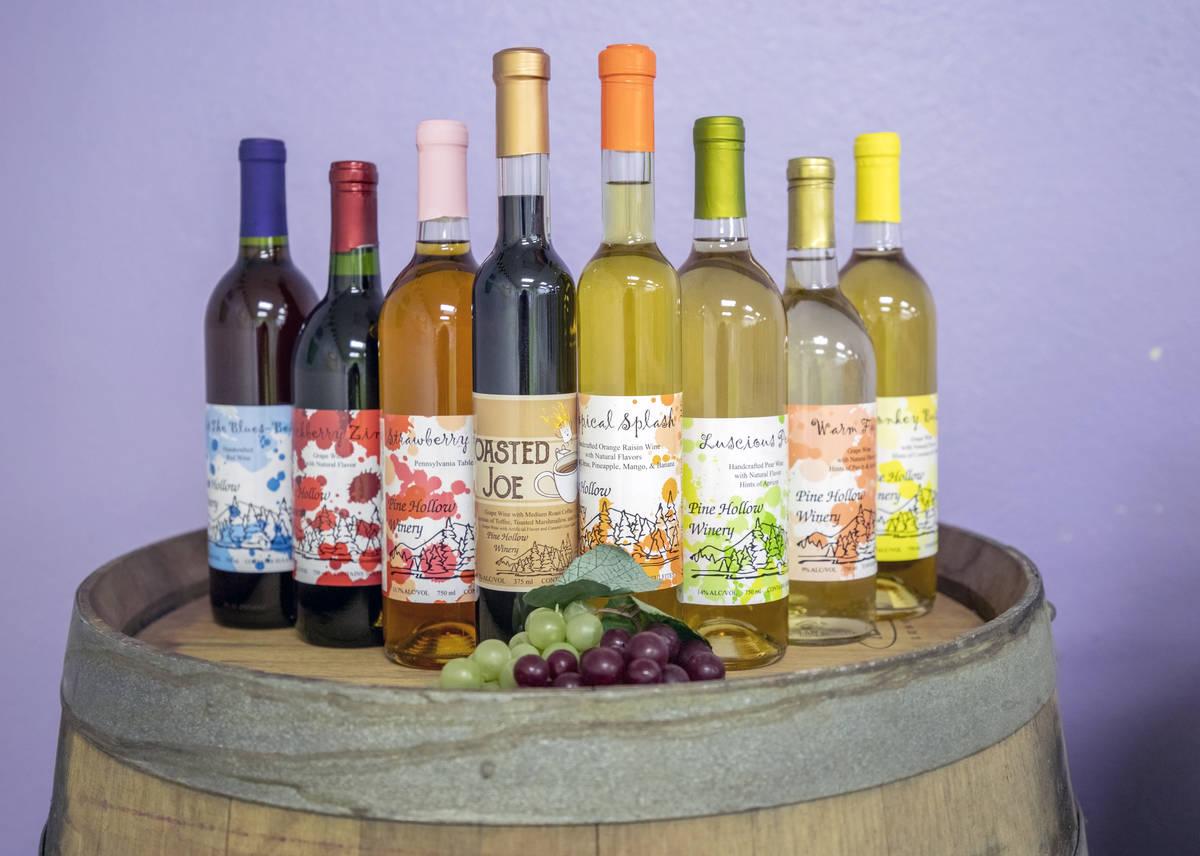 Craft bottle wines from Pine Hollow Winery. (Elizabeth Brumley/Las Vegas Review-Journal)