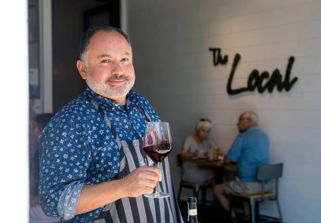 Beverage director Rafael Garcia at The Local, a wine bar at the District in Henderson. (Elizabe ...