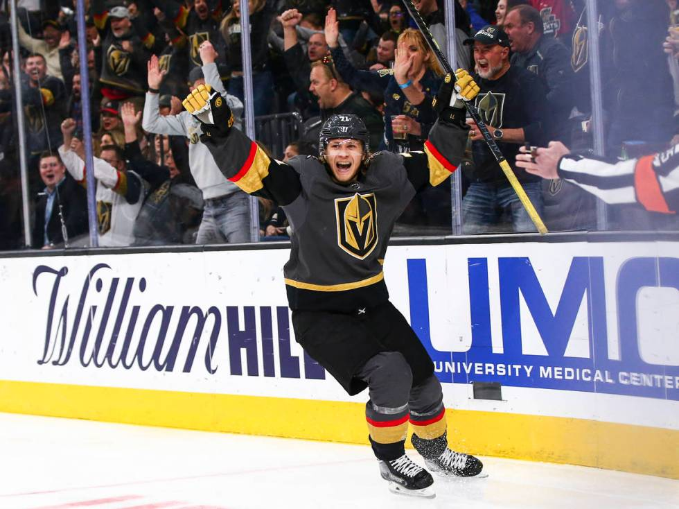 Golden Knights' William Karlsson (71) celebrates after scoring against the Buffalo Sabres durin ...