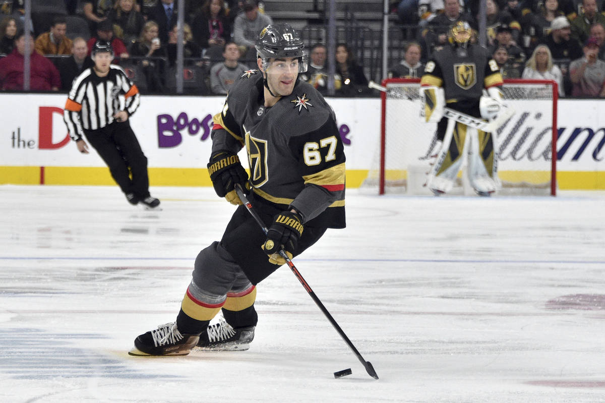 In this Saturday, Feb. 8, 2020 file photo, Vegas Golden Knights left wing Max Pacioretty (67) s ...