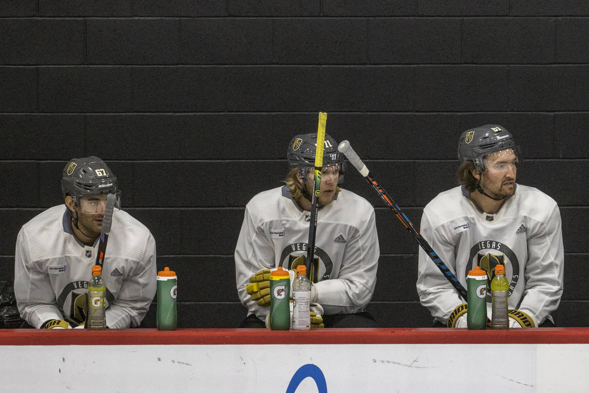From left, Golden Knights left wing Max Pacioretty, center William Karlsson and right wing Mark ...