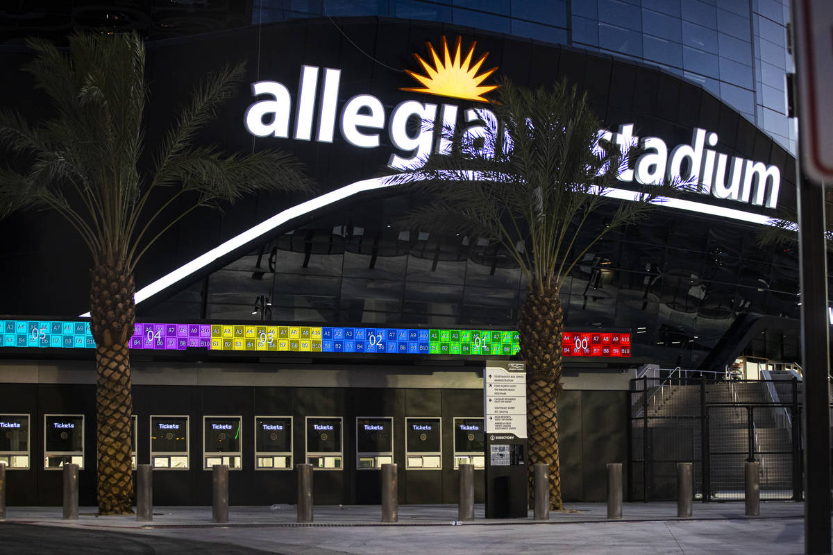 Signage and the box office area at Allegiant Stadium in Las Vegas on Thursday, July 30, 2020. T ...