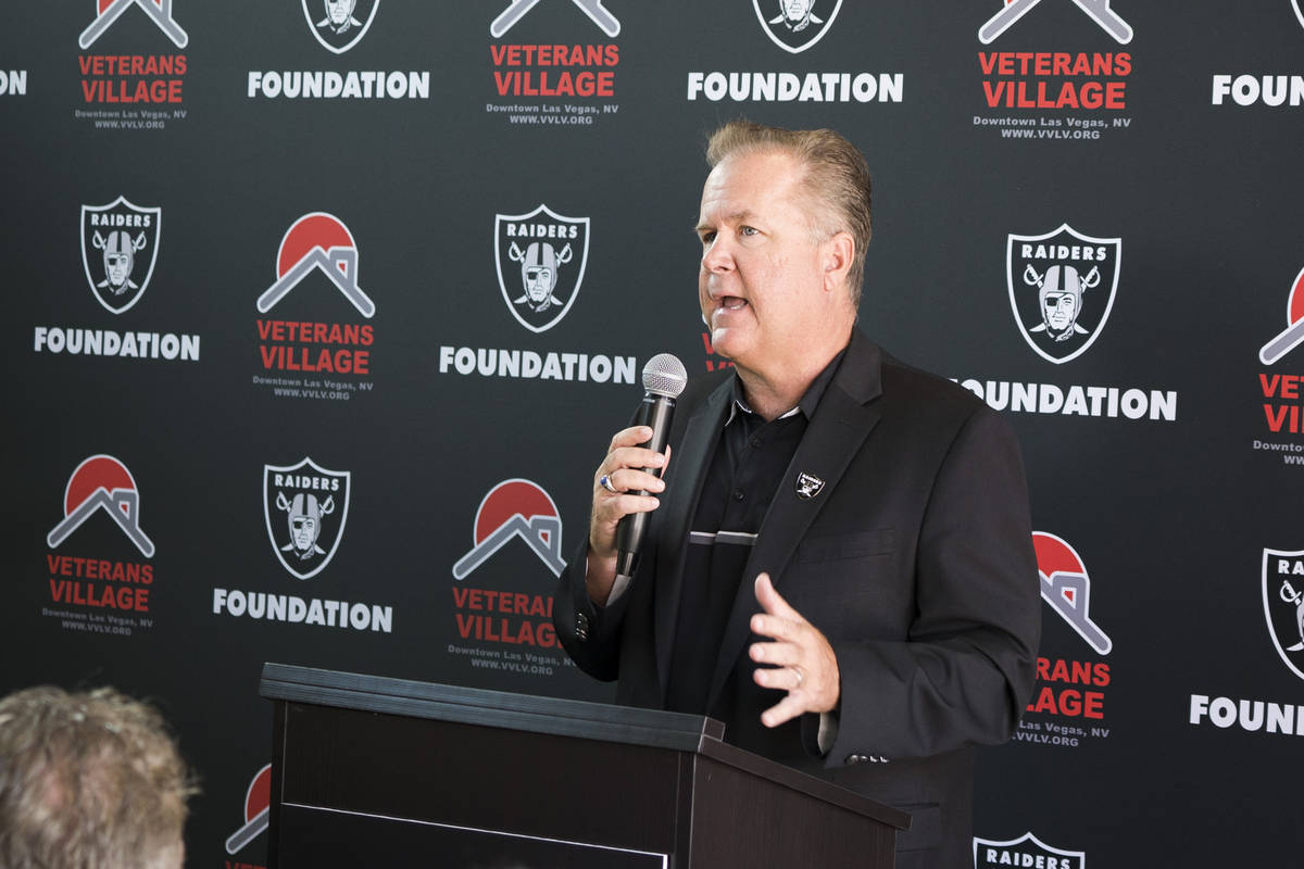 Fox Sports Radio host JT The Brick speaks to press at Veterans Village II in Las Vegas, Thursda ...