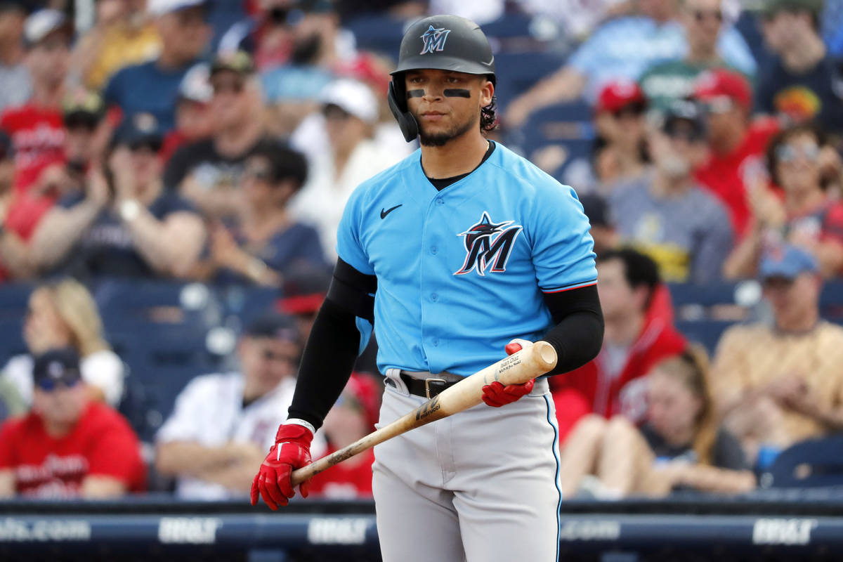 FILE - In this March 2, 2020, file photo, Miami Marlins' Isan Diaz bats during the second innin ...