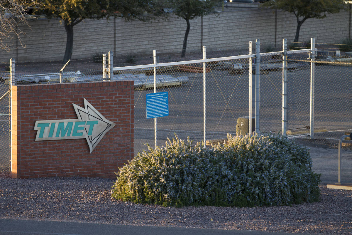 The TIMET plant, 181 N. Water St., in Henderson, Friday, Jan. 26, 2018. (Erik Verduzco/Las Vega ...