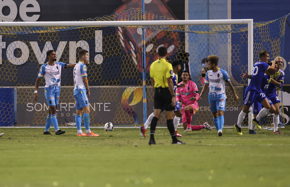 Las Vegas Lights FC goalkeeper Edward Delgado (0) looks on after giving up a goal to Reno 1868 ...