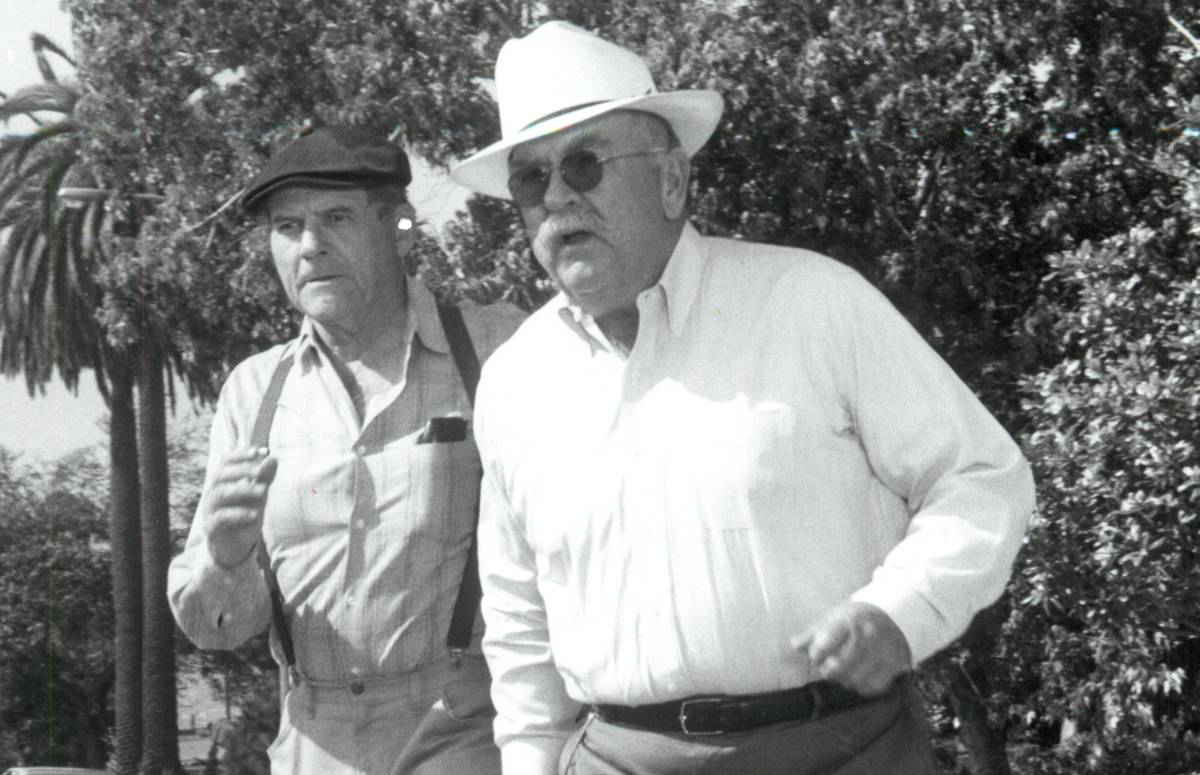 "Wilford Brimley, foreground, is seen in the NBC show ""Family and Friends"" in 1980."
