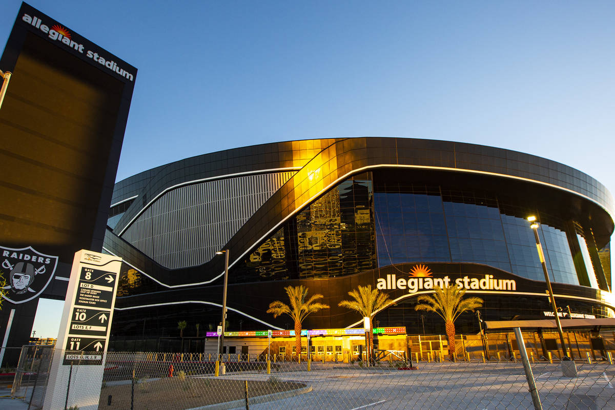 An exterior view of Allegiant Stadium in Las Vegas on Thursday, July 30, 2020. The stadium, hom ...