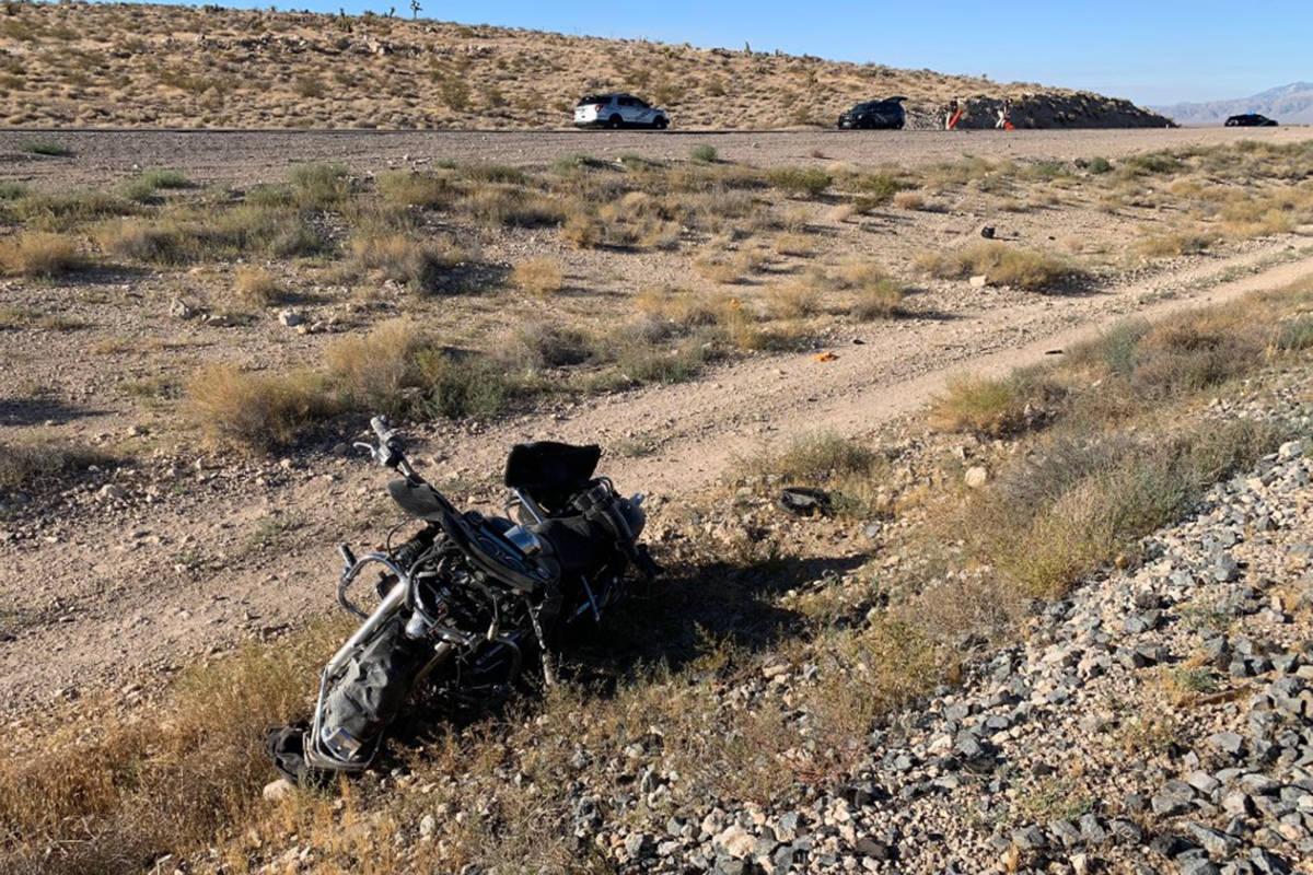 A motorcyclist was killed Sunday, Aug. 2, 2020, near Sloan. (Nevada Highway Patrol)