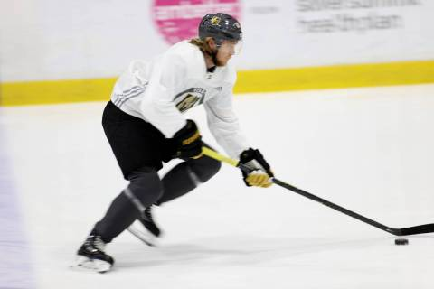 Vegas Golden Knights center William Karlsson (71) skates with the puck during a team practice a ...