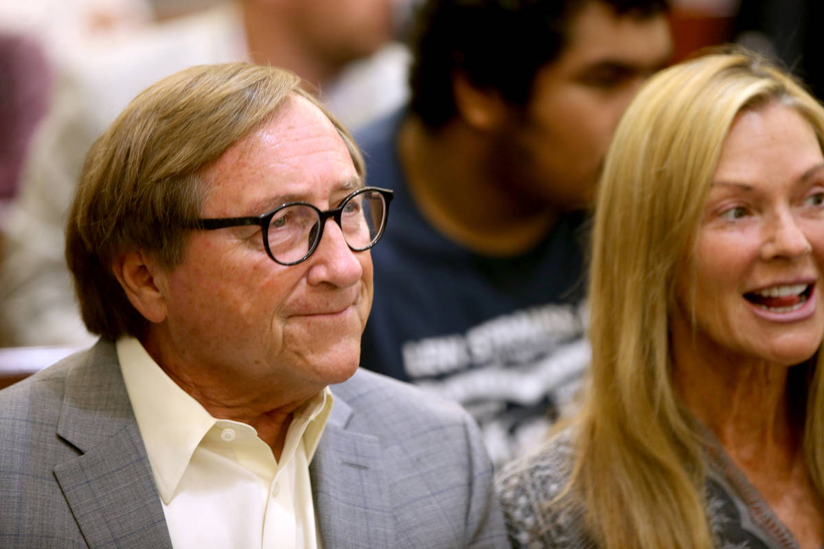Retired Las Vegas Convention and Visitors Authority CEO Rossi Ralenkotter waits in a courtroom ...