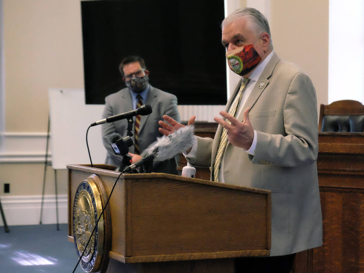 Gov. Steve Sisolak at a press briefing at the Capitol Monday on the state's new COVID-19 mitiga ...