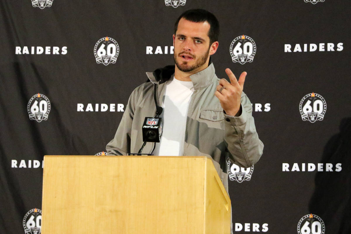 Oakland Raiders quarterback Derek Carr speaks to media at a postgame press conference following ...