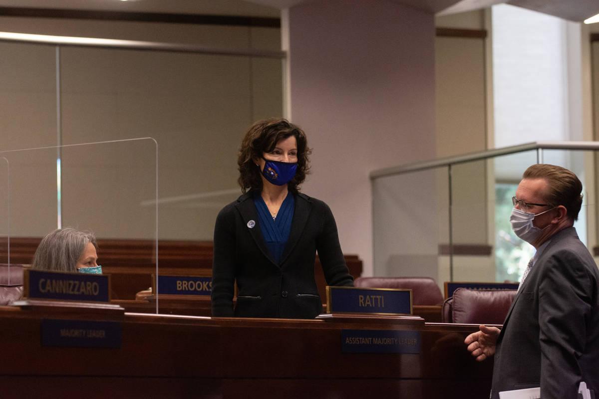 From left, Senators Julia Ratti, Heidi Seevers Gansert and Ben Kieckhefer on Wednesday, Aug. 5, ...