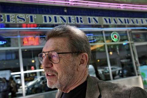 In this June 5, 2007 file photo, Pete Hamill responds during an interview at the Skylight Diner ...