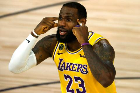 LeBron James of the Los Angeles Lakers reacts against the Oklahoma City Thunder during the seco ...