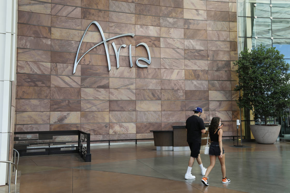 Aria is seen on the Las Vegas Strip, Thursday, Aug. 6, 2020, in Las Vegas. (Elizabeth Brumley/L ...