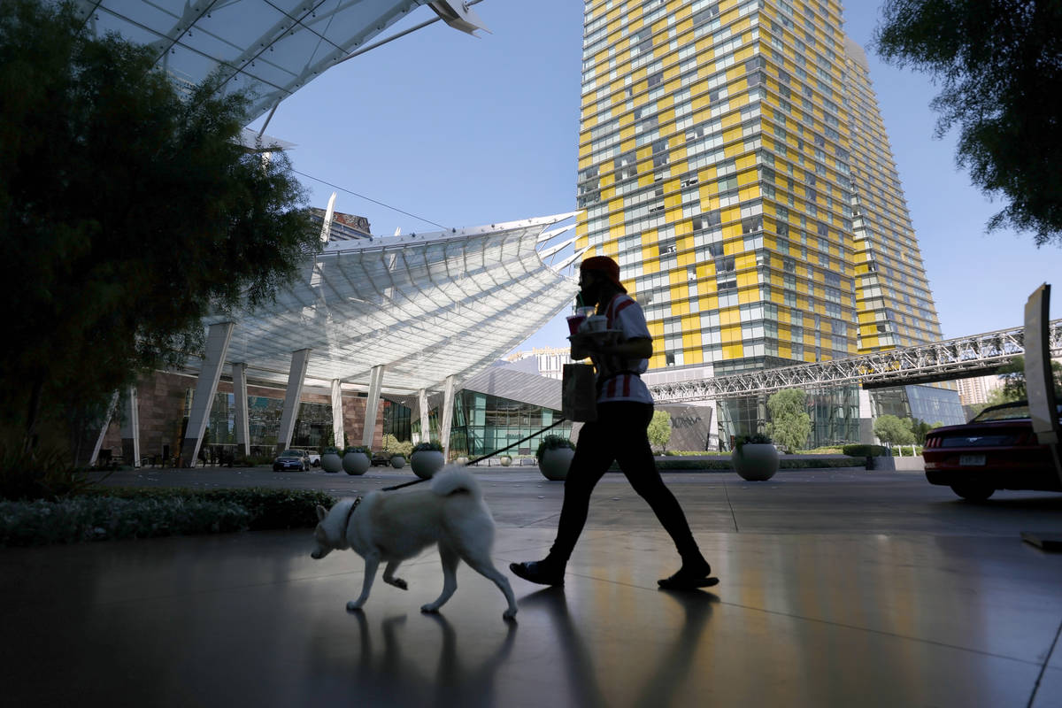 A view of Aria on the Las Vegas Strip, Thursday, Aug. 6, 2020, in Las Vegas. (Elizabeth Brumley ...