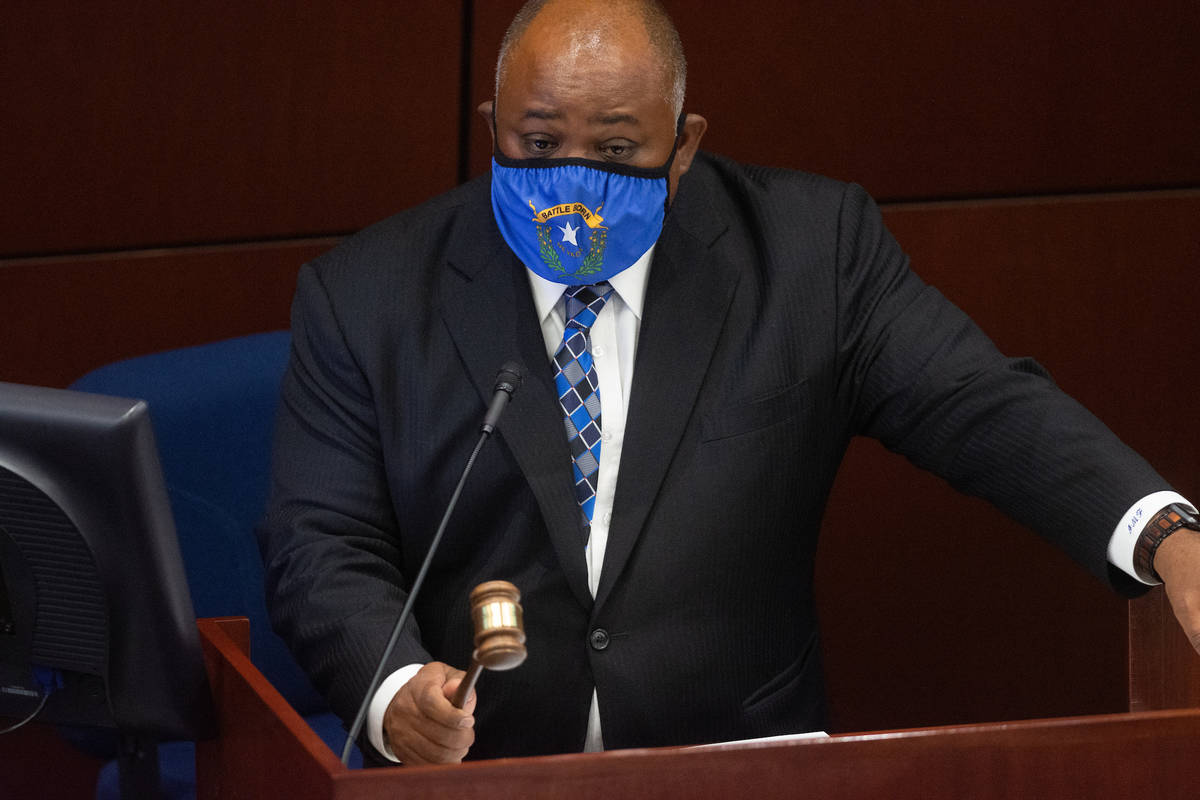 Assembly Speaker Jason Frierson bangs his gavel convening the Assembly on Wednesday, Aug. 5, 20 ...