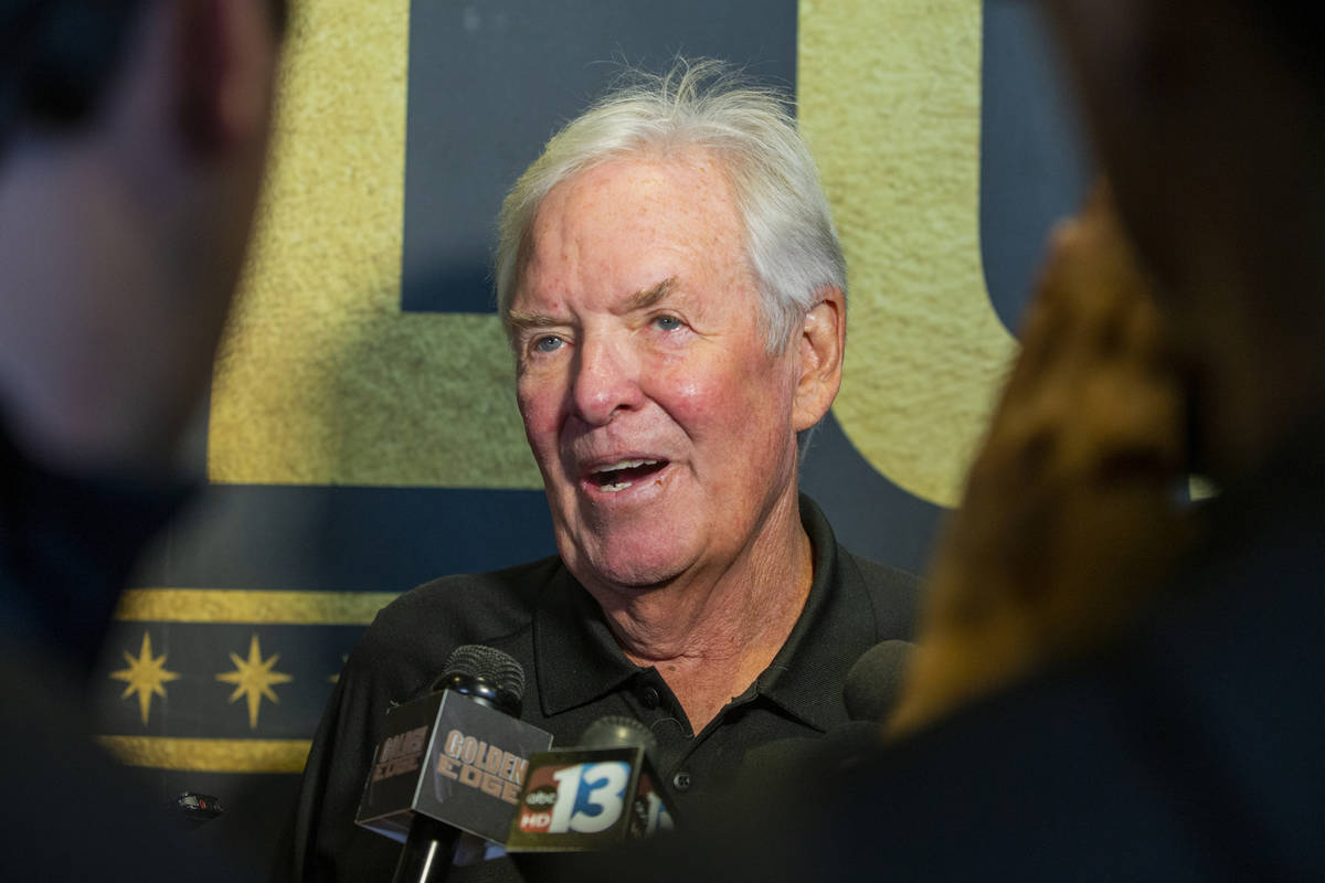 The Vegas Golden Knights owner Bill Foley talks to the media during a meet and greet to honor f ...