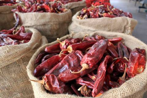 Sacks of dried red chile pods are seen at the Hatch Chile Sales shop along the main street of t ...