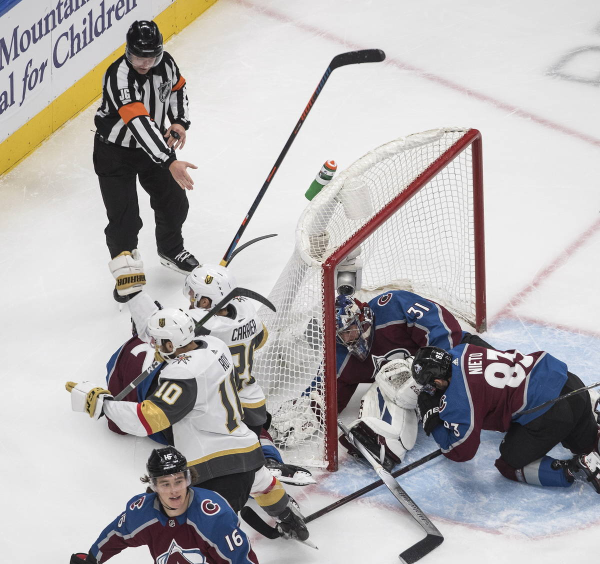 The referee points to a goal by the Vegas Golden Knights during second period NHL Stanley Cup h ...