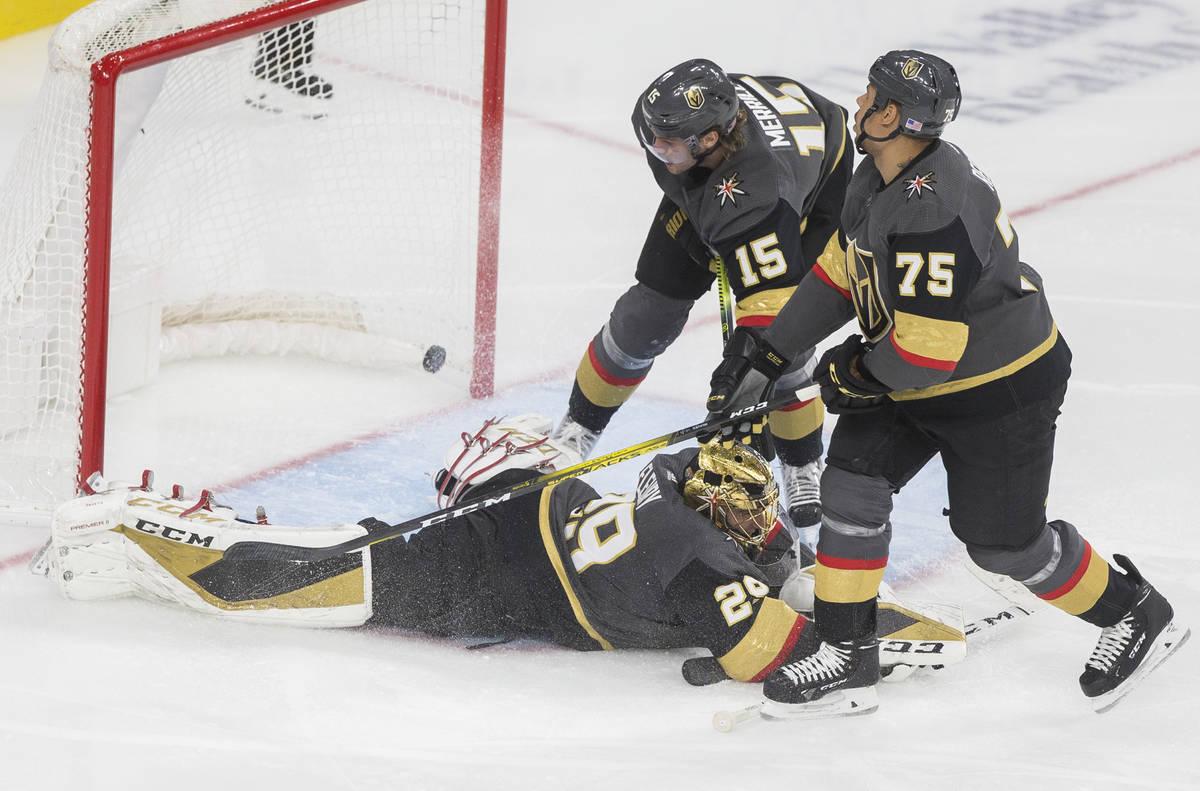 Vegas Golden Knights goaltender Marc-Andre Fleury (29), Vegas Golden Knights right wing Ryan Re ...