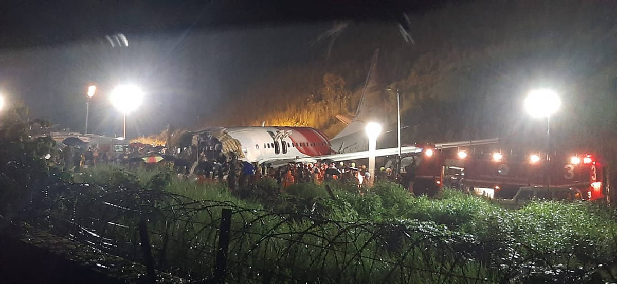 The Air India Express flight that skidded off a runway while landing at the airport in Kozhikod ...