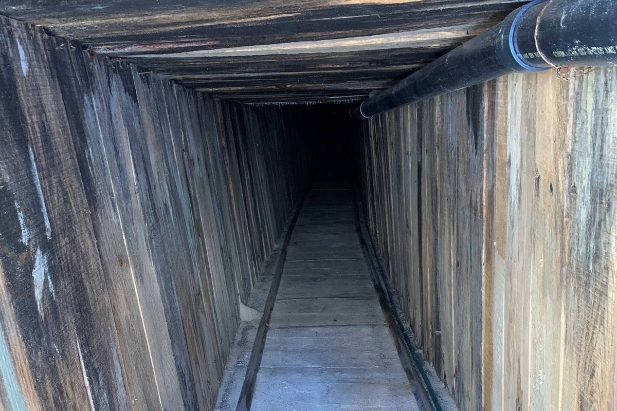 This photo shows a section of an incomplete tunnel intended for smuggling, found stretching fro ...