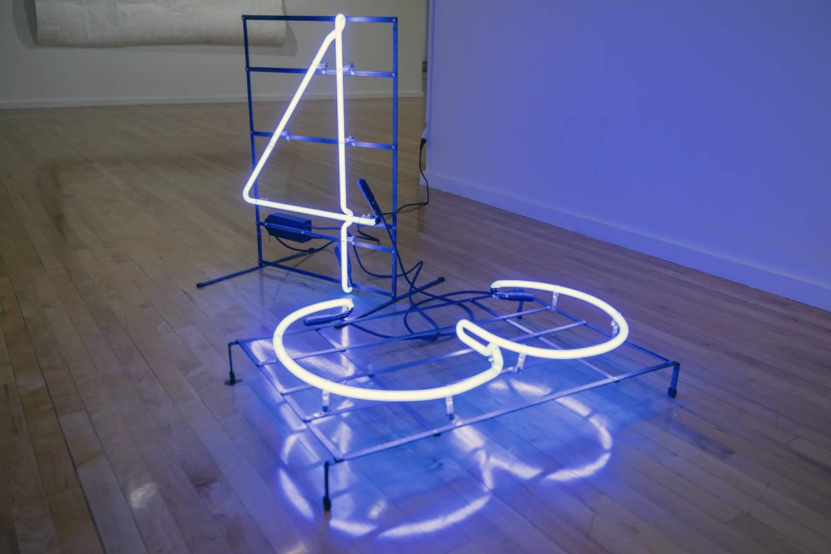 """Javier Sanchez's neon metal piece titled """"Ayotzi"""" is featured in the exhibit """"Excerpts"""" at UNLV ..."""