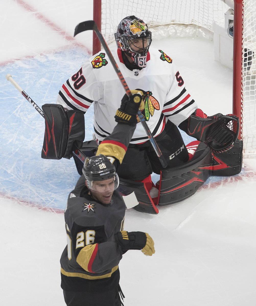 Vegas Golden Knights' Paul Stastny (26) celebrates a Vegas goal against Chicago Blackhawks goal ...