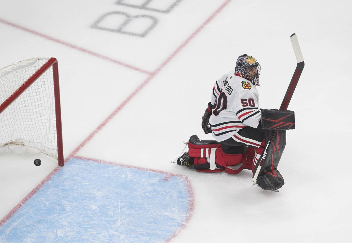 Chicago Blackhawks' goalie Corey Crawford gives up a goal to the Vegas Golden Knights during th ...
