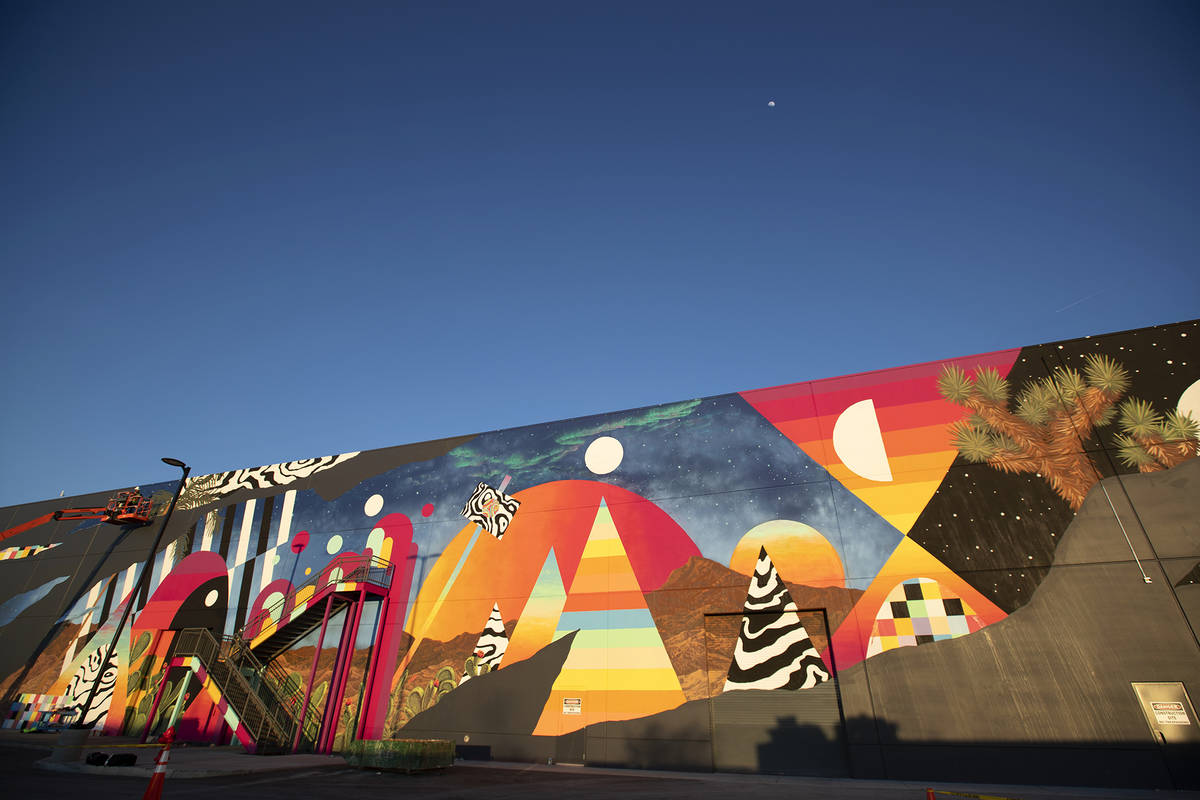 Eric Vozzola working on his mural at Area 15, Las Vegas, NV (Meow Wolf)