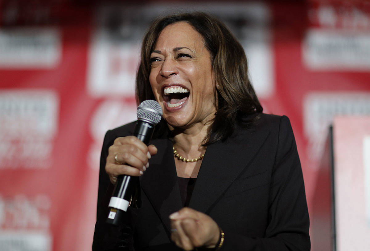 FILE - In this Nov. 8, 2019, file photo, then-Democratic presidential candidate Sen. Kamala Har ...
