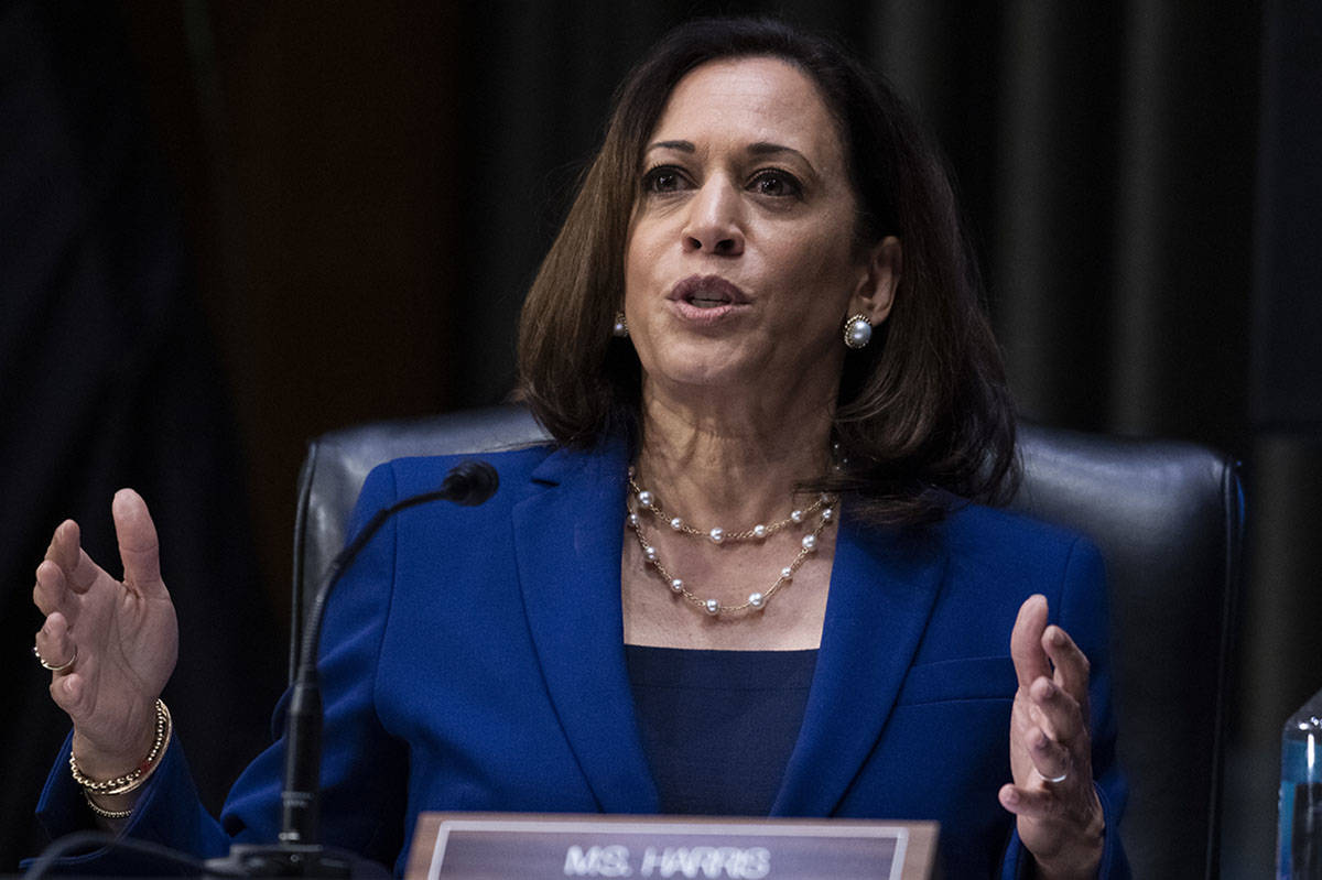 In this June 16, 2020, photo, Sen. Kamala Harris, D-Calif., asks a question during a Senate Jud ...