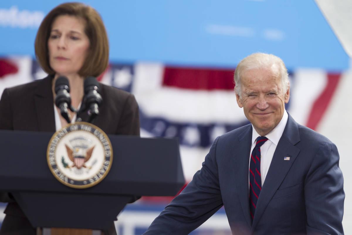 FILE--Vice President Joe Biden, right, looks on as Nevada Democratic U.S. Senate candidate Cath ...