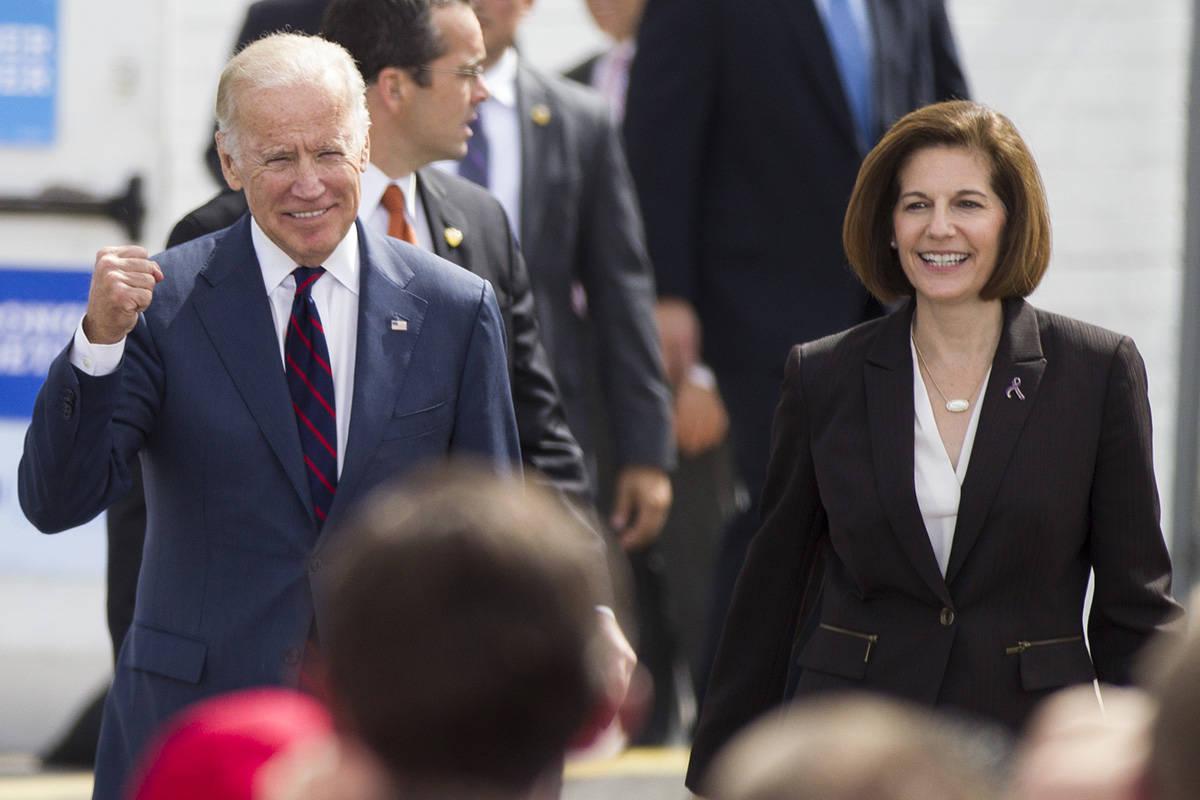 Vice President Joe Biden, left, and Nevada Democratic U.S. Senate candidate Catherine Cortez Ma ...