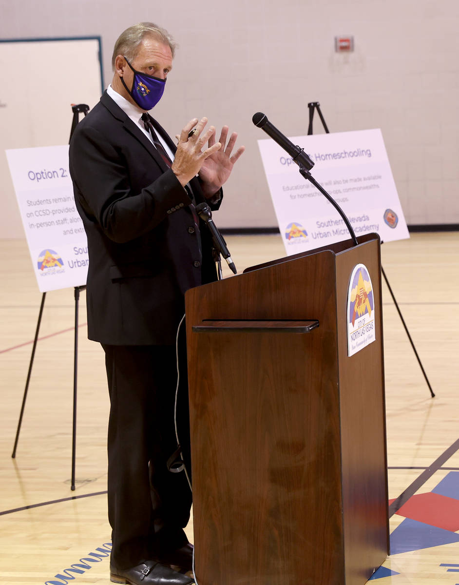 North Las Vegas Mayor John Lee speaks during a news conference at Silver Mesa Recreation Center ...