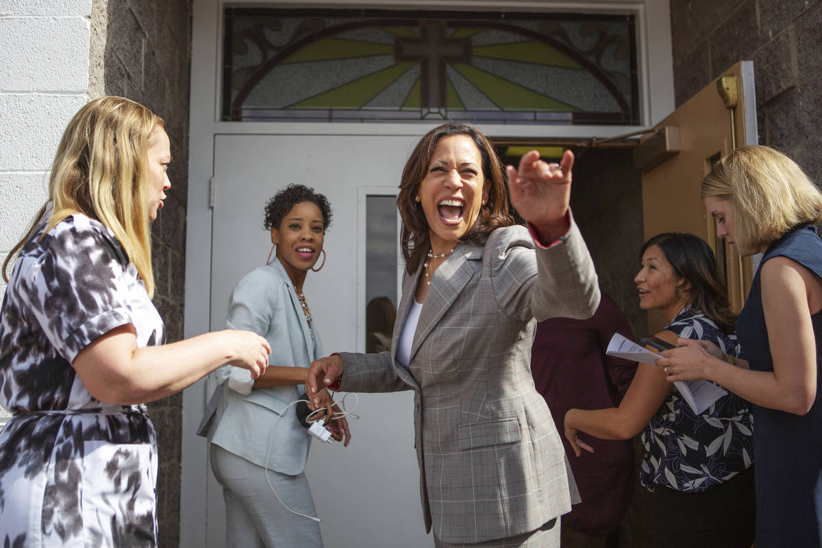 Democratic presidential candidate Sen. Kamala Harris, D-Calif., waves to church attendees befor ...
