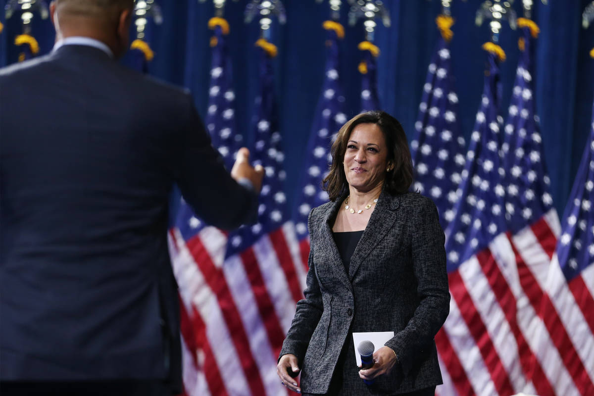 Democratic presidential candidate Kamala Harris takes the stage during the 2020 presidential gu ...