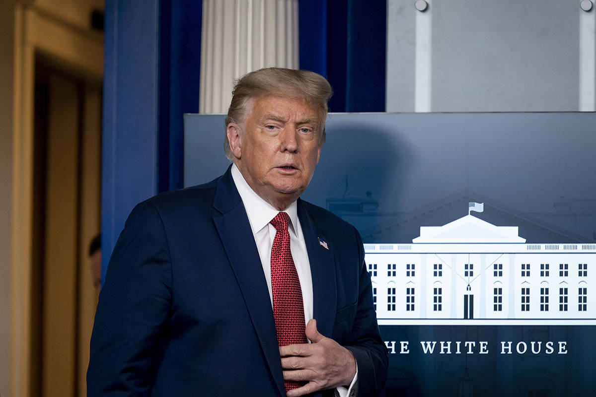 President Donald Trump arrives for a news conference in the James Brady Press Briefing Room at ...